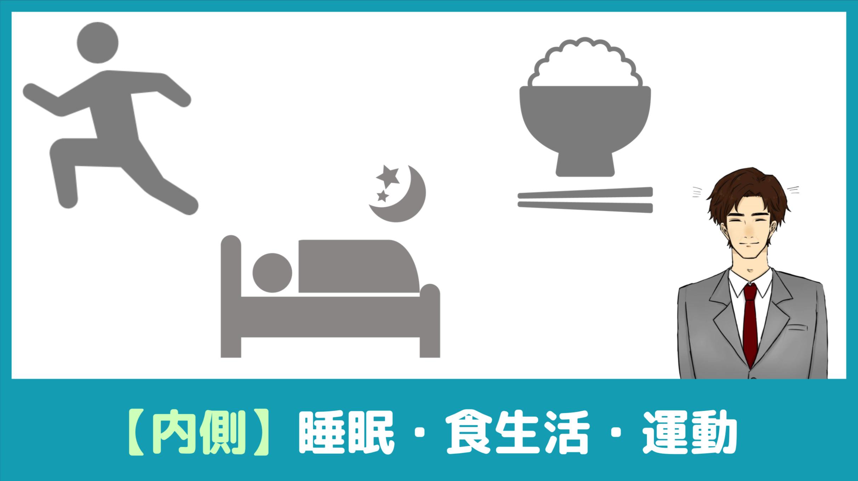②内側からの改善(食生活や睡眠、運動など)